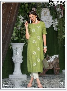 Designer Embroidery cotton Kurtis at best rate in surat - Kaheri Enterprise