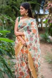 Floral Print Cotton Saree