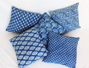 Blue & White Printed Square Cotton Cushion Cover