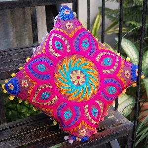 Suzani Colourful Decorative Embroidered Square Cotton Cushion Cover