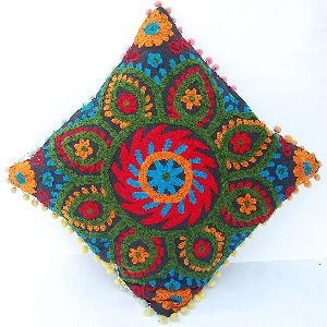 Suzani Ethnic Floral Embroidery Square Cotton Cushion Cover