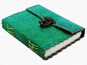 Green Leather Metal Lock & Unlined Eco-friendly Journal Diary