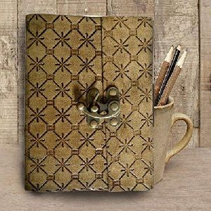 Lock Hand Embossed & 100 Unlined Leather Journal Diary