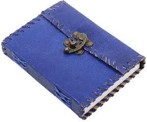 Metal Lock & Eco-friendly Blue Leather Journal Diary