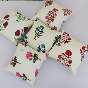 Multicolor Block Print Square Cotton Cushion Cover