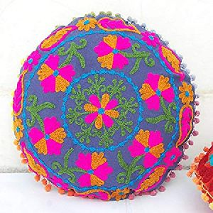 Suzani Pom Pom Traditional Embroidered Round Cotton Cushion Cover