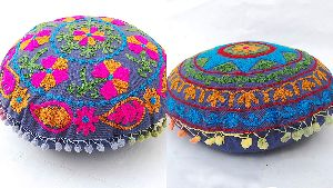 Suzani Ethnic Floral Cotton Embroidery Round Cushion Cover