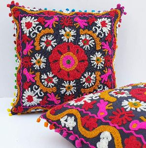 Suzani Handmade Square Shape Embroidered Cotton Cushion Cover