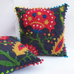 Suzani Multi Color Cushion Square Cotton Cushion Cover