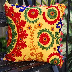 Suzani Pom Pom Multicolor Square Cotton Cushion Cover