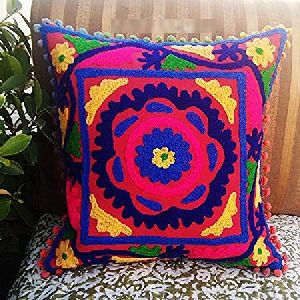 Suzani Pom Poms Christmas Decor Square Cotton Cushion Cover