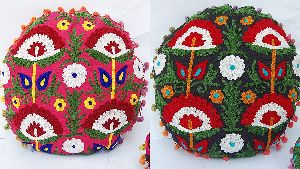 Suzani Tree & Flower Embroidered Round Cotton Cushion Cover
