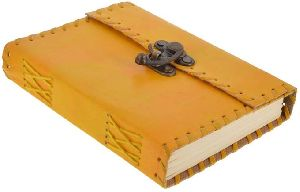 Yellow Leather Metal Lock & Unlined Eco-friendly Journal Diary