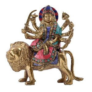 Brass Colourful Goddess Durga Statue