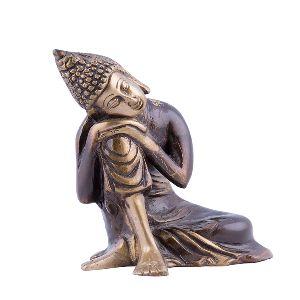 Brass Relaxing Buddha Statue