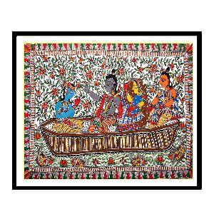 Captivating Madhubani Painting Of Ram, Sita And Lakshman Crossing River Sarju