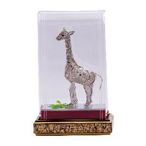 Charming Pure Silver Giraffe Statue