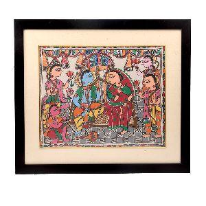 Fabulous Madhubani Painting Of Shree Ram & Sita With Hanuman Ji