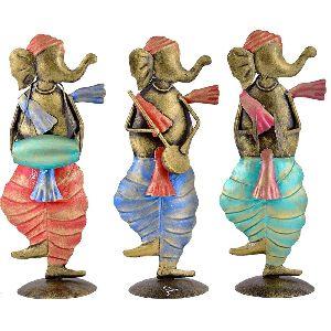 Handmade Iron Elephant Musician Set