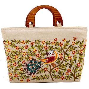 Stunning Cream Colour Peacock Design Embroidery Tote Bag