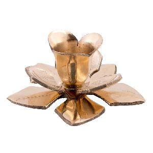Astounding Golden Brass Flower Candle Stand