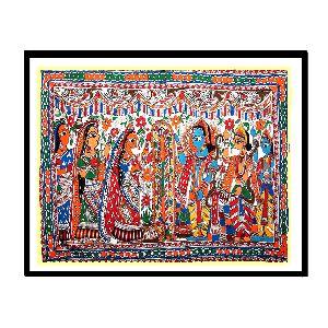 Magnificent Madhubani Painting Of Sita's Swayamvar