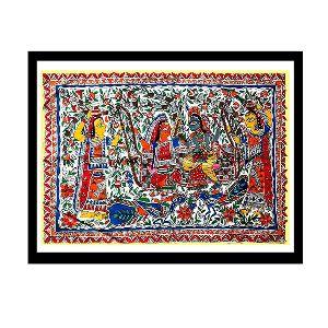 Outstanding Madhubani Painting Of Krishna And Radha On Swing