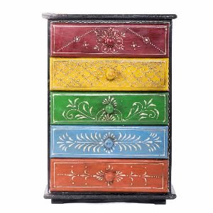 Outstanding Wooden Painted Five Chest Drawer