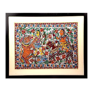 Praiseworthy Madhubani Painting Of Bharat Playing With Lion