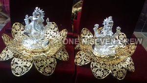 Silver Plated Laxmi Ganesh Statue