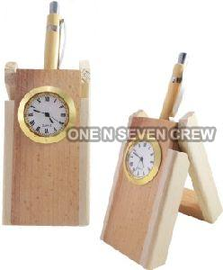 Wooden Table Clock Pen Stand