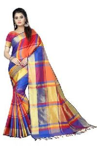 Multicolor Checked Cotton Sarees