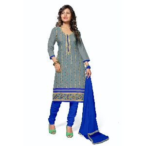 Jam Cotton Plain Thread Embroidered Suit Material