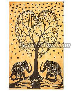 Elephant Tree of Life Cotton Wall Hanging Tapestry