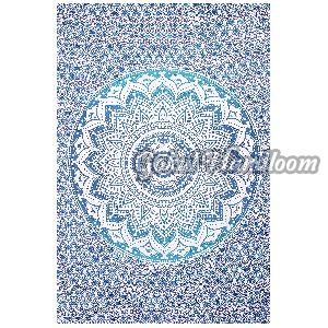 Twin Original Blue Ombre Cotton Wall Hanging Tapestry