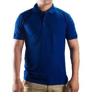 Mens Cotton Blue Collar T Shirt