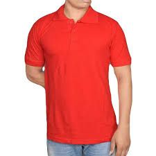 Mens Cotton Red Collar T-Shirt