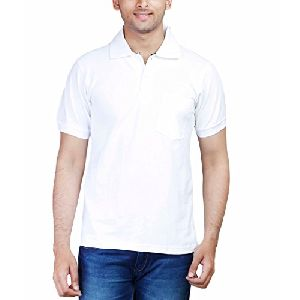 Mens Cotton White Collar T-Shirt