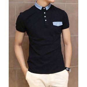 Mens Polyester Collar T Shirt
