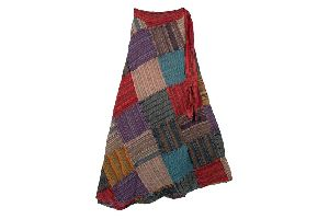 Patchwork Wrap Around Long Cotton Skirt
