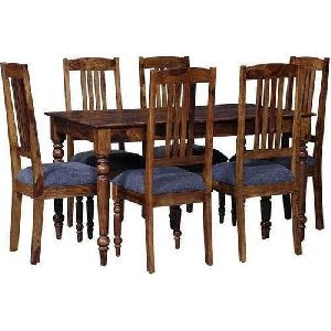 Six Seater Wooden Dining Table Set