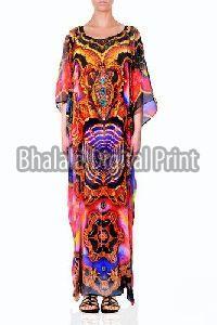 Digital Print Silk Long Kaftan