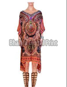 Digital Print Silk Short Kaftan