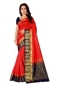 Double Peacock Kanjivaram Tussar Silk Saree