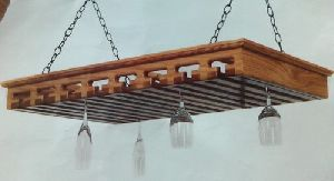 Wooden Hanging Wine Glass Rack