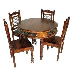 Wooden Round Dining Table Set