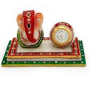 Marble Ganesha Idol with Clock