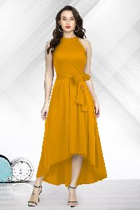 Yellow Knee Length Gown