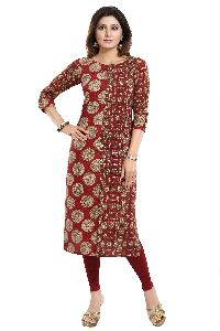 Brilliant Red Cotton Printed Tunic With Roll Up Sleeves And Wooden Buttons