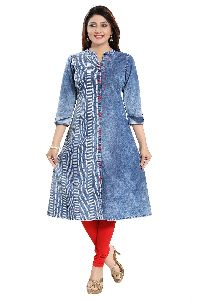 Dare To Dream roll up red button denim front open a-line long kurti